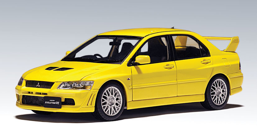 AUTOart: Mitsubishi Lancer EVO VII - Yellow (20231) in 1:64 scale - mDiecast