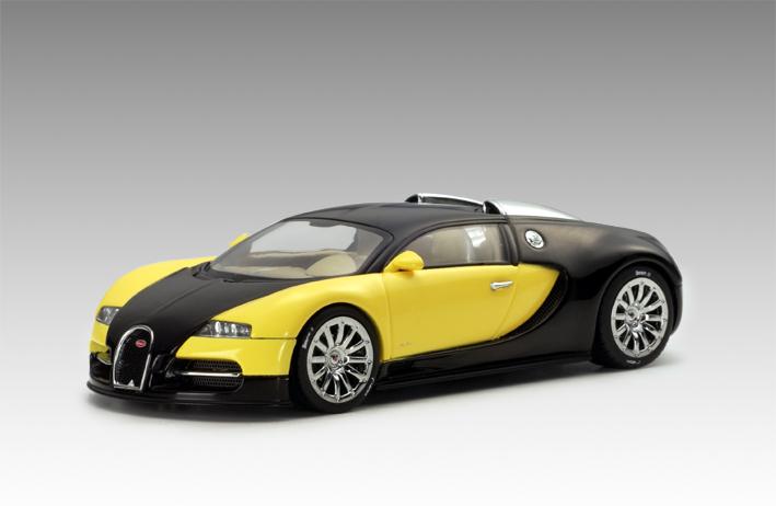 autoart bugatti eb 16 4 veyron show car black yellow 50904 in 1 43 scale mdiecast. Black Bedroom Furniture Sets. Home Design Ideas