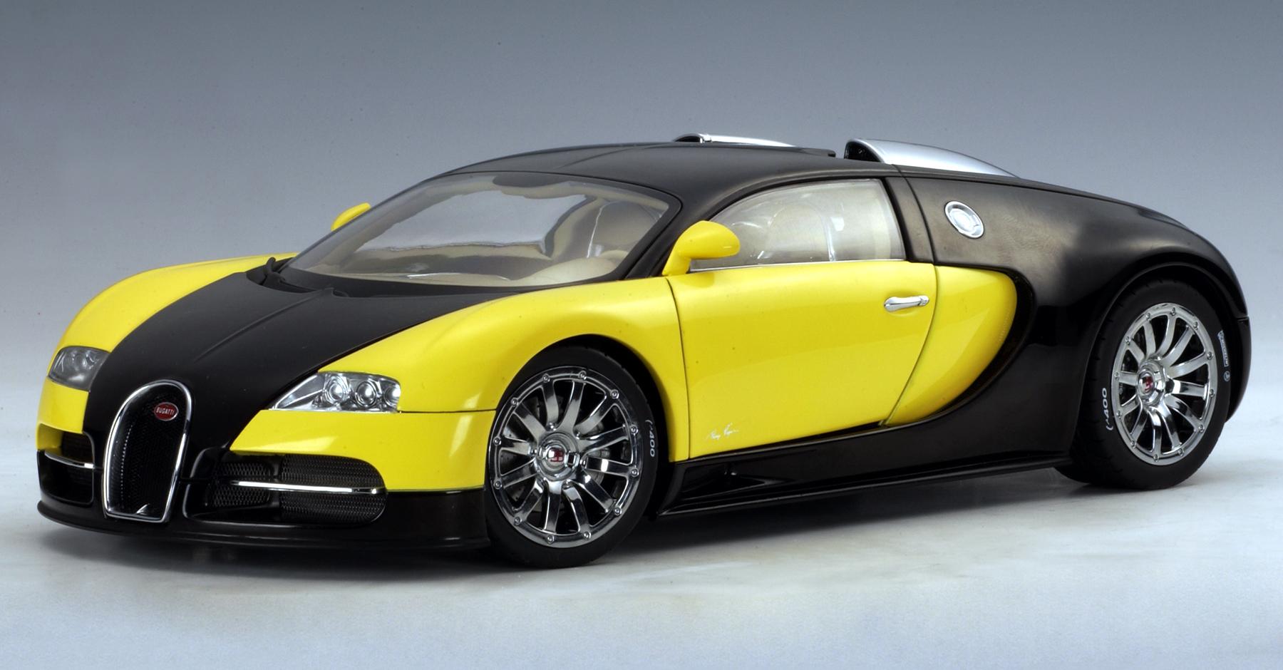 autoart bugatti eb 16 4 veyron show car black yellow 70904 in 1 18 scale mdiecast. Black Bedroom Furniture Sets. Home Design Ideas