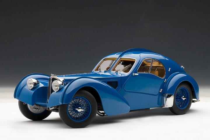 Autoart 1936 Bugatti Atlantic 57s Blue W Spoked Wheels