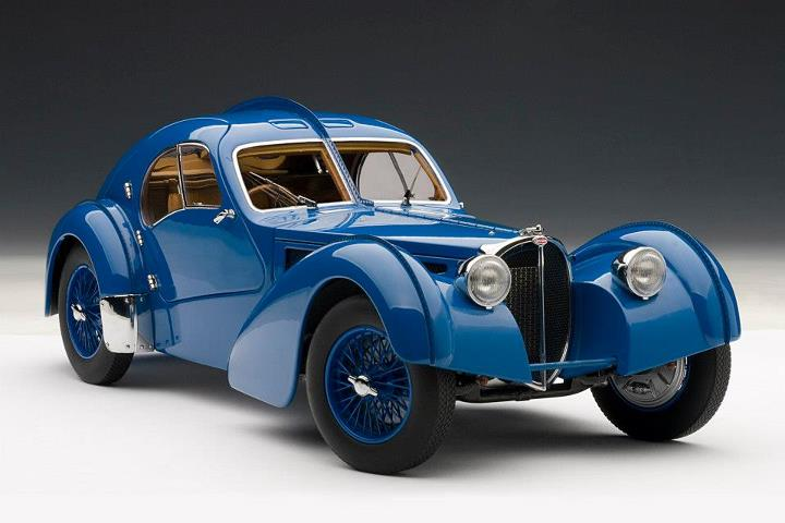 AUTOart: 1936 Bugatti Atlantic 57S - Blue w/ Spoked Wheels (70942) im 1:18 maßstab