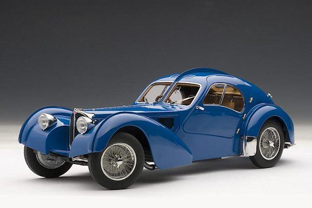 Autoart 1938 Bugatti 57s Atlantic Blue W Metal Wire