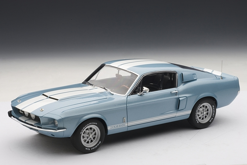 Ford Mustang 1967 Gt500 >> AUTOart: 1967 Shelby Mustang GT500 - Blue w/ White Stripes (72907) in 1:18 scale - mDiecast