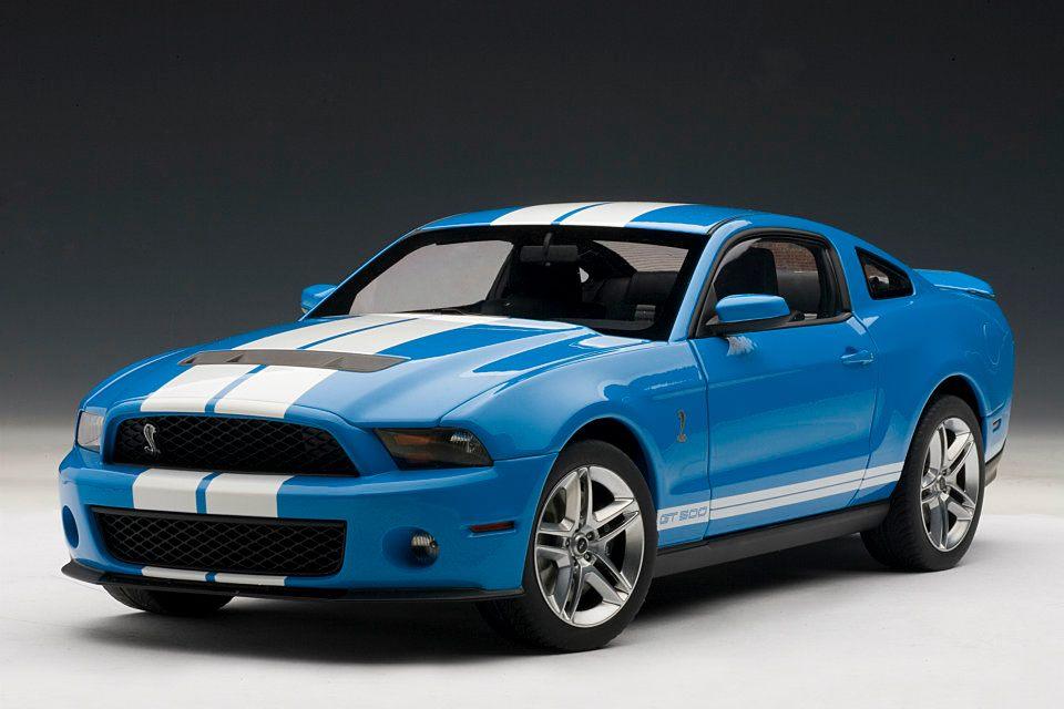 AUTOart: 2010 Ford Mustang GT500 - Grabber Blue w/ White Stripes ...
