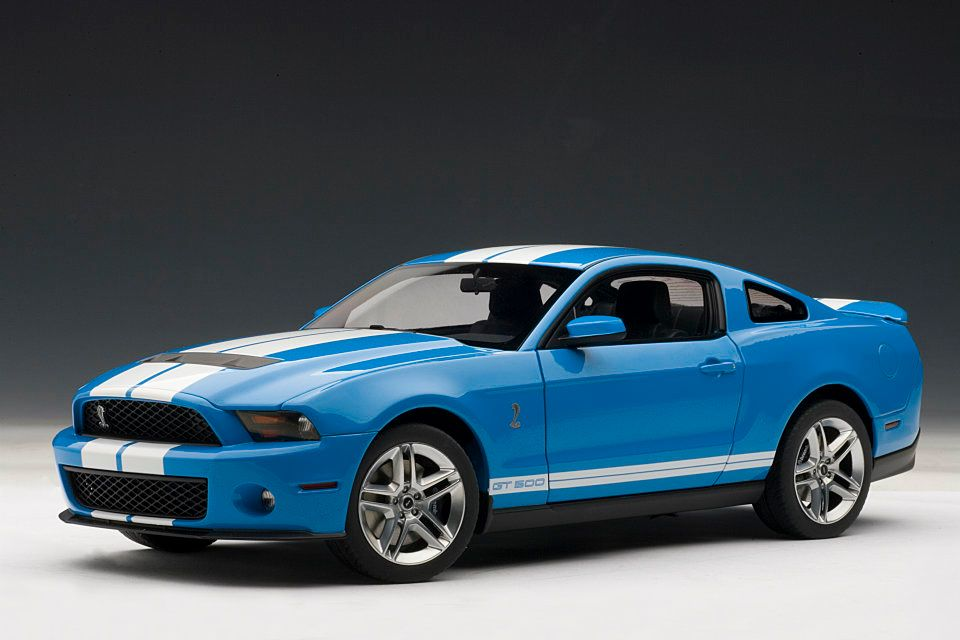 Ford Mustang Key Chain AUTOart: 2010 Ford Mustang GT500 - Grabber Blue w/ White Stripes ...