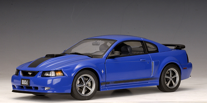 Autoart 2003 Ford Mustang Mach I Azure Blue 73001 In 1 18 Scale Mdiecast