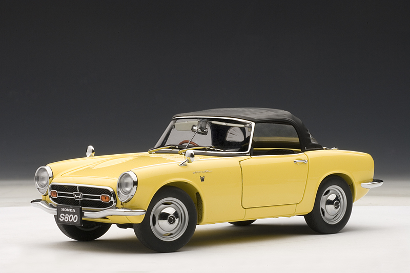 All Brands Of Cars >> AUTOart: 1966 Honda S800 Roadster - Yellow (73277) in 1:18 scale - mDiecast