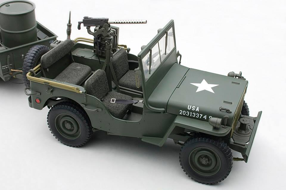 autoart 1943 jeep willys army green w trailer accessories included 74016 in 1 18 scale. Black Bedroom Furniture Sets. Home Design Ideas