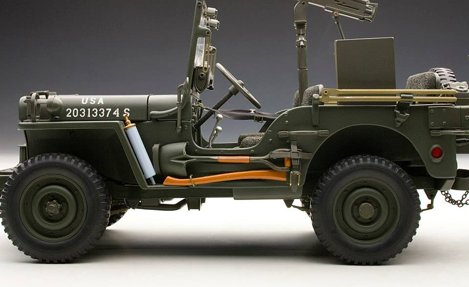 AUTOart: 1943 Jeep Willys - Army Green w/ Trailer/Accessories Included (74016) в 1:18 масштабе