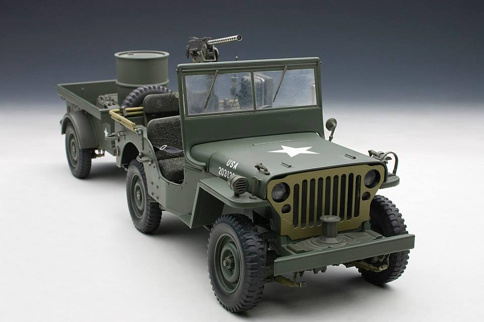 autoart 1943 jeep willys army green w trailer. Black Bedroom Furniture Sets. Home Design Ideas