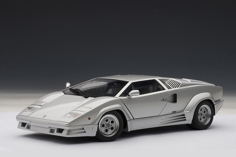 Autoart Lamborghini Countach 25th Anniversary Edition Silver 74536 In 1 18 Scale Mdiecast