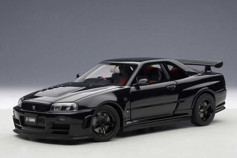 autoart 2005 nissan skyline gt r r34 nismo z tune black 77355 in 1 18 scale mdiecast. Black Bedroom Furniture Sets. Home Design Ideas