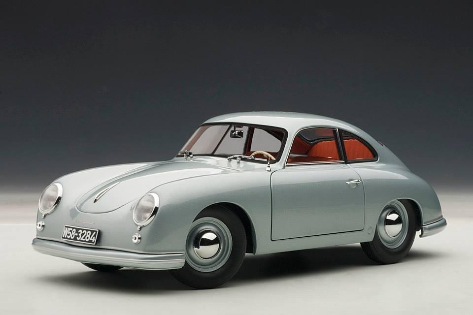 Autoart 1950 Porsche 356 Coupe Ferdinand Fish Silver Grey 77947 In 1 18 Scale Mdiecast