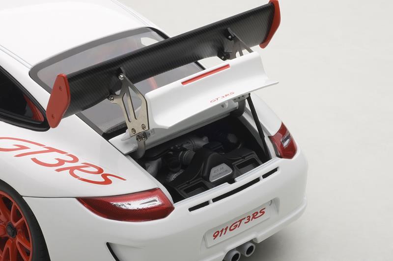 AUTOart: Porsche 911 (997) GT3 RS - White w/ Red Stripes (78143) in 1:18  scale