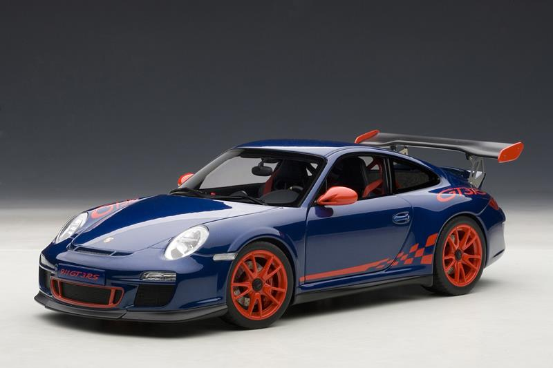 Autoart Porsche 911 997 Gt3 Rs Blue W Red Stripes 78144 In 1 18 Scale Mdiecast