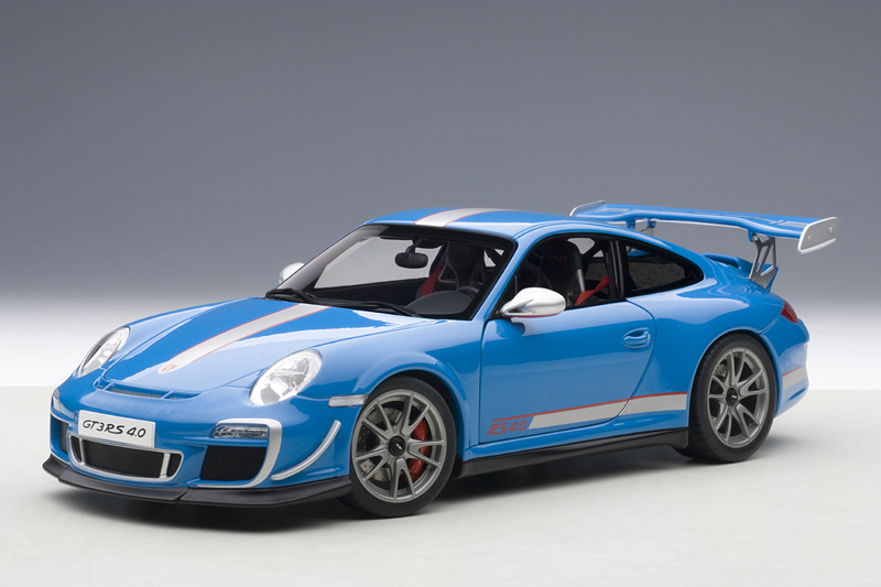 autoart porsche 911 997 gt3 rs 4 0 blue 78145 in 1 18 scale mdiecast. Black Bedroom Furniture Sets. Home Design Ideas