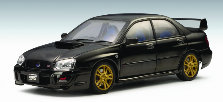 autoart 2003 subaru impreza wrx sti black 78663 in 1 18 scale mdiecast. Black Bedroom Furniture Sets. Home Design Ideas