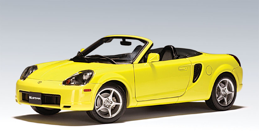 Toyota Cars List >> AUTOart: 2000 Toyota MR2-Spyder - Yellow - LHD (78713) in 1:18 scale - mDiecast