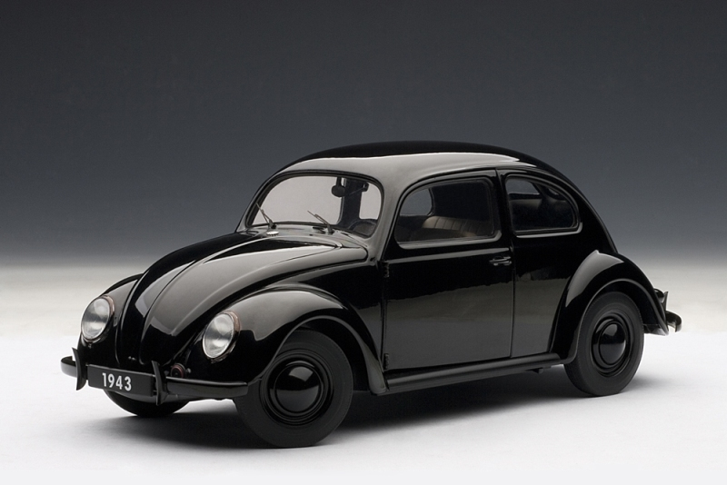 Autoart 1943 Volkswagen Beetle Kafer Limousine Black 79766 In 1 18 Scale Mdiecast