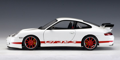 Autoart Porsche 911 Gt3 Rs 2004 White W Red Stripe On Two Sides 80471 In 1 18 Scale Mdiecast