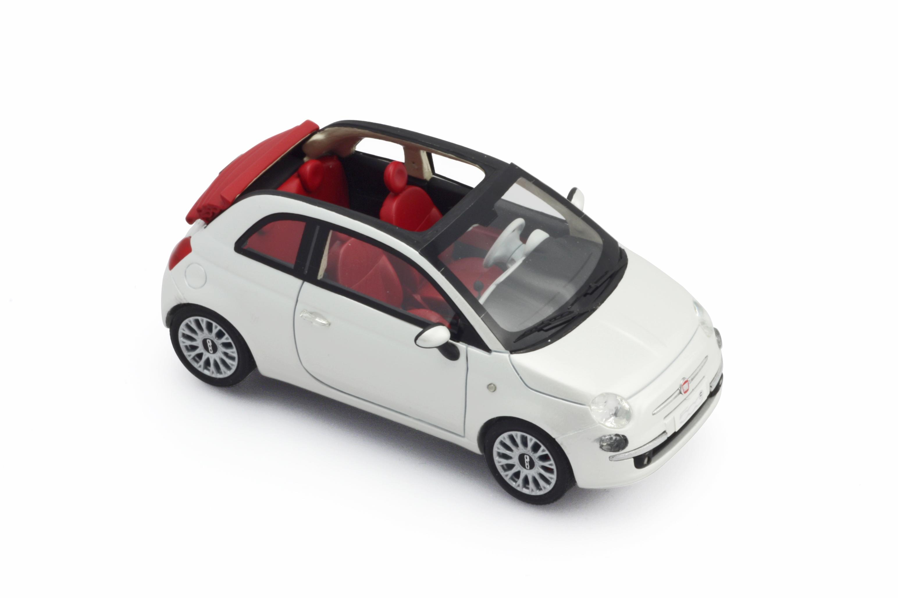Fiat 500 White >> BBR Models: 2009 Fiat 500 Cabrio U.S.A. Version - Pearl White (BBRC14A) in 1:43 scale - mDiecast