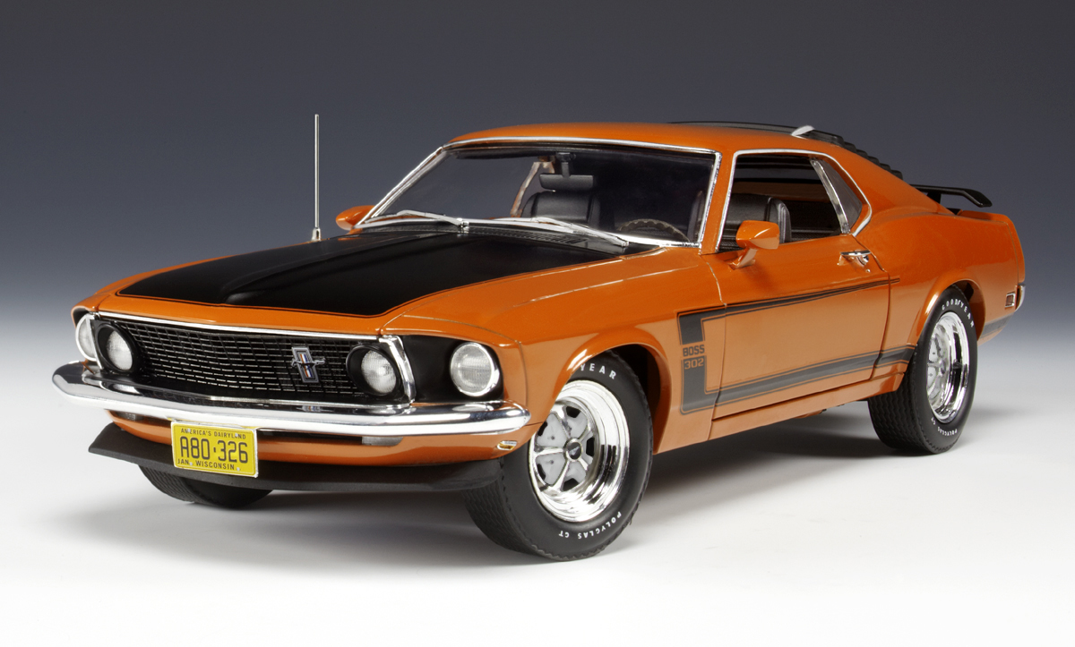 highway 61 1969 ford mustang boss 302 calypso coral 50728 in 1 18 scale mdiecast. Black Bedroom Furniture Sets. Home Design Ideas