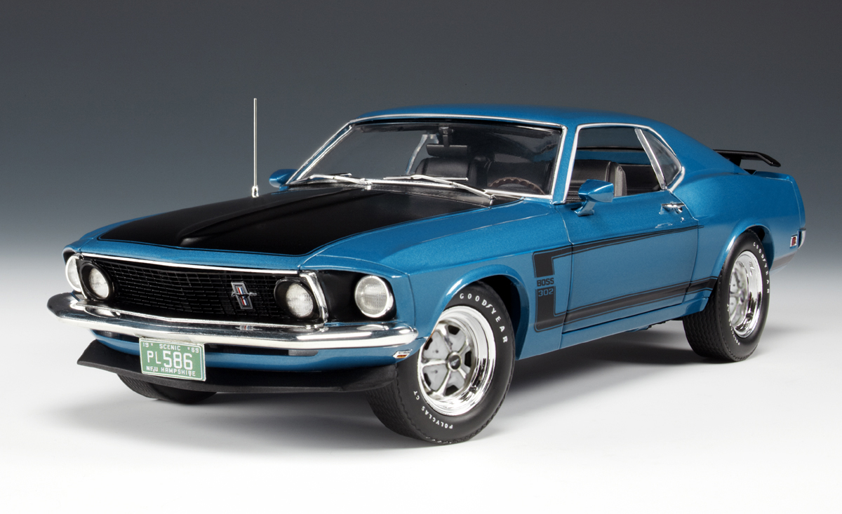 highway 61 1969 ford mustang boss 302 acapalco blue 50729 in 1 18 scale mdiecast. Black Bedroom Furniture Sets. Home Design Ideas