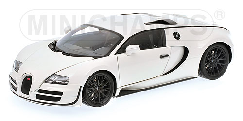 minichamps 2010 bugatti veyron super sport white w black rims 100 110844 in 1 18 scale. Black Bedroom Furniture Sets. Home Design Ideas