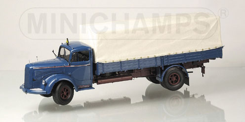 Minichamps 1950 Mercedes Benz L 6600 Pritsche Blue Red 109