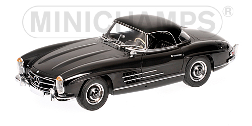minichamps 1957 mercedes benz 300 sl roadster w198 black 180 039040 in 1 18 scale mdiecast. Black Bedroom Furniture Sets. Home Design Ideas