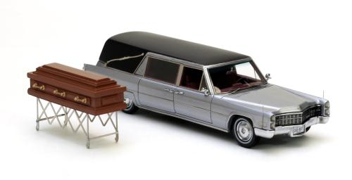 NEO Scale Models: 1966 Cadillac S&S Hearse - Black / Silver (43897) in 1:43 scale - mDiecast