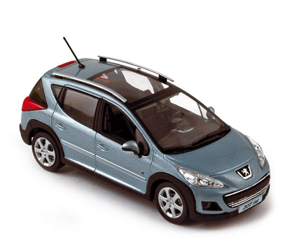 norev: 2009 peugeot 207 sw outdoor - blue (472782) in 1:43 scale