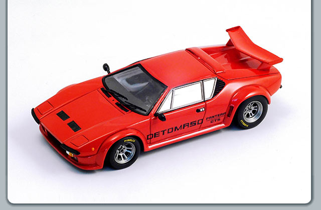 Spark: 1981 De Tomaso Pantera GT5-S Red w/ Rear Wing (S0534) in 1:43 scale