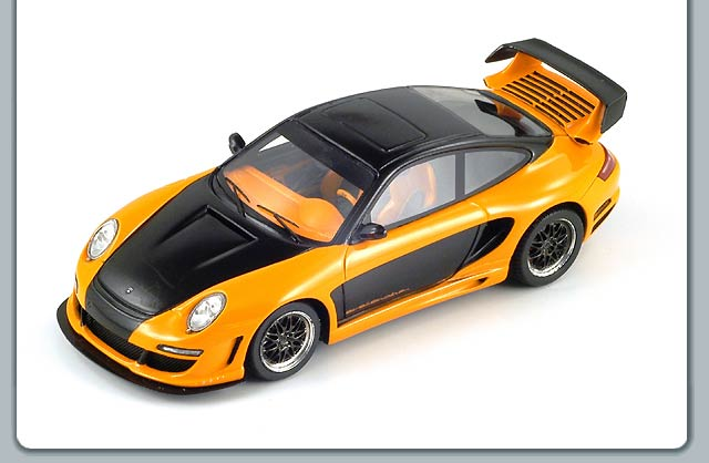 Spark: Gemballa Avallanche GT2 650 EVO - Black Over Orange (S0718) in 1:43 scale