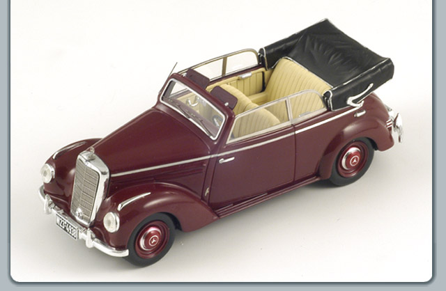 Spark: 1954 Mercedes-Benz 220 A Cabriolet (W187) - Burgundy (S1002) in 1:43 scale