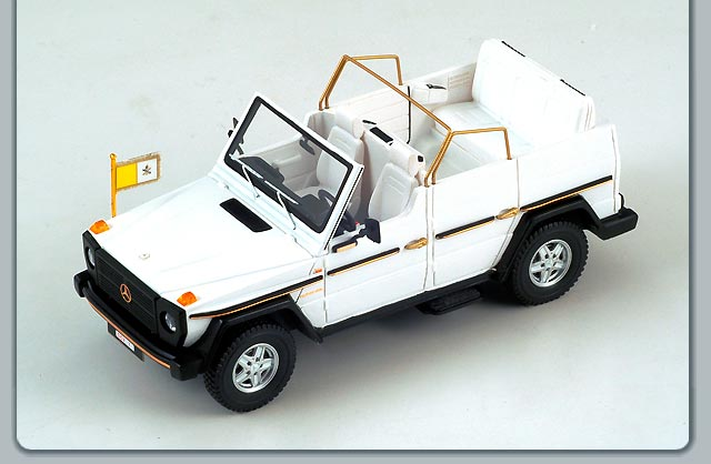 Spark: 1980 Mercedes-Benz 230GE Papamobil - Open Top (S1007) in 1:43 scale