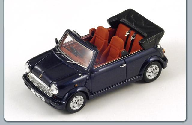spark 1993 austin mini cabriolet dark blue metallic s1505 in 1 43 scale mdiecast. Black Bedroom Furniture Sets. Home Design Ideas