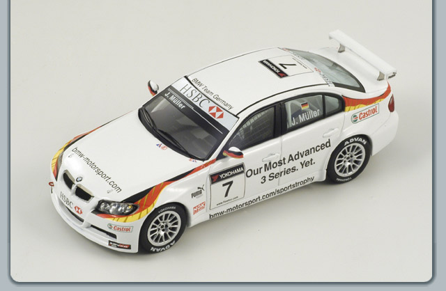 Spark: 2009 BMW 320I #7 WTCC J.Muller (S2503) in 1:43 scale