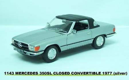 Sun Star: 1977 Mercedes-Benz 350 SL Closed Convertible - Silver (1143) in 1:18 scale