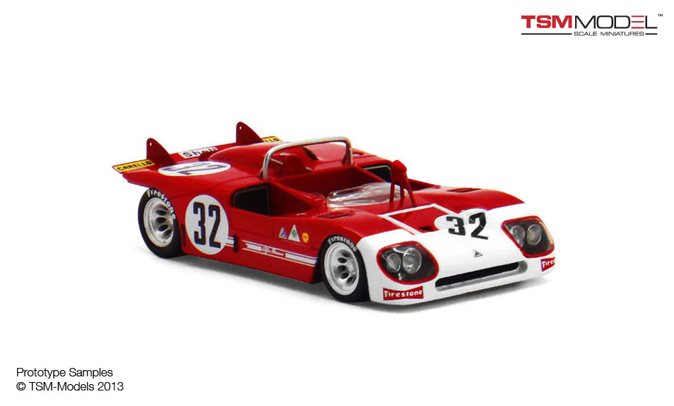 TrueScale Miniatures: Alfa Romeo Tipo 33/3 - 1971 Sebring 12 Hr 3rd Place #32 (TSM144310) in 1 ...