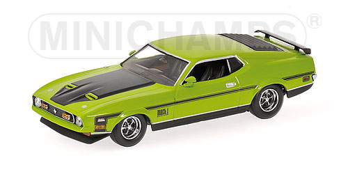 Minichamps: 1971 Ford Mustang Mach 1 - Green (400 087121) in 1:43 scale . Picture provided by Natty, 2010-03-13 08:01:09