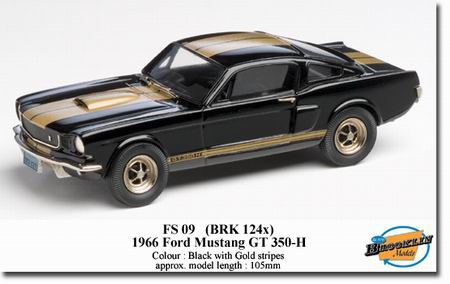 brooklin: 1966 ford shelby mustang gt-350h - black/gold stripes