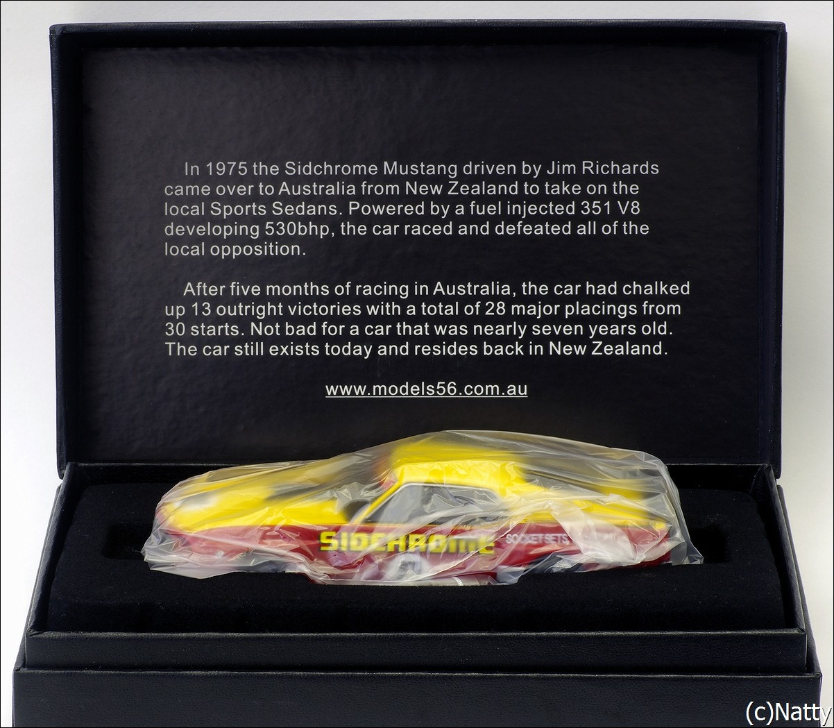 Armco Model Cars: 1975 Ford Mustang - Yellow/Red (Armco Race Series Car No7 ) in 1:43 scale