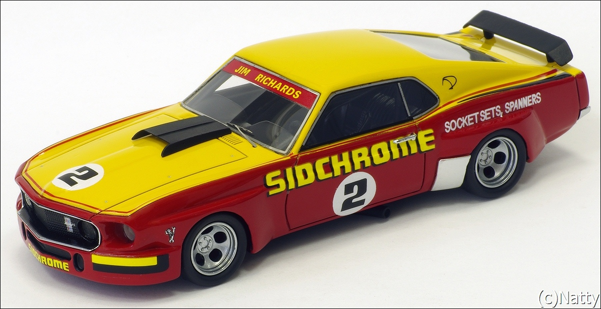 Armco Model Cars: 1975 Ford Mustang - Yellow/Red (Armco Race Series Car No7 ) in 1:43 scale . Picture provided by Natty, 2011-05-23 03:52:14