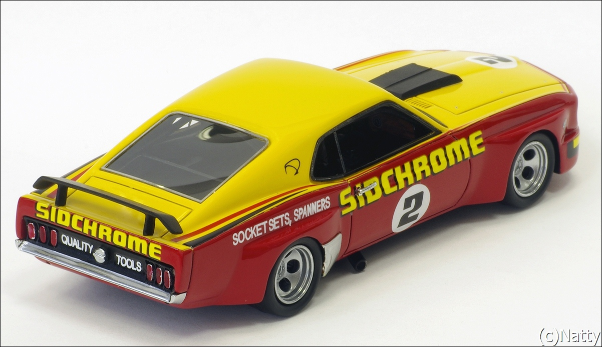 Armco Model Cars: 1975 Ford Mustang - Yellow/Red (Armco Race Series Car No7 ) in 1:43 scale . Picture provided by Natty, 2011-05-23 03:52:35