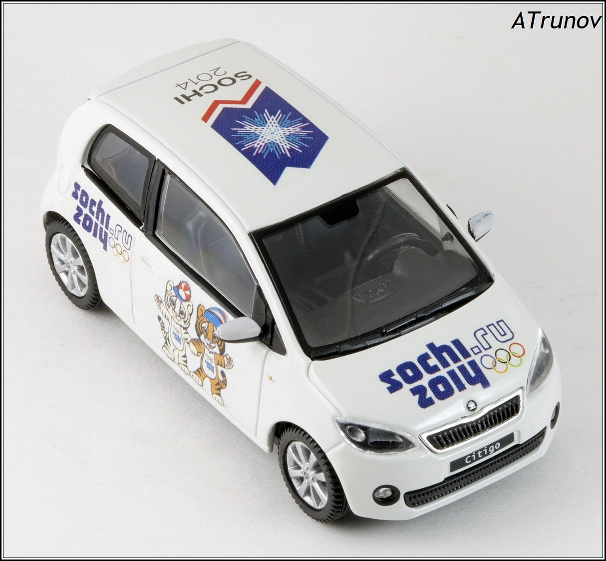 Abrex: 2011 Skoda Citigo Sochi 2014 Olympic - White (143AB-021E) in 1:43 scale . Picture provided by Natty, 2015-01-13 01:30:17
