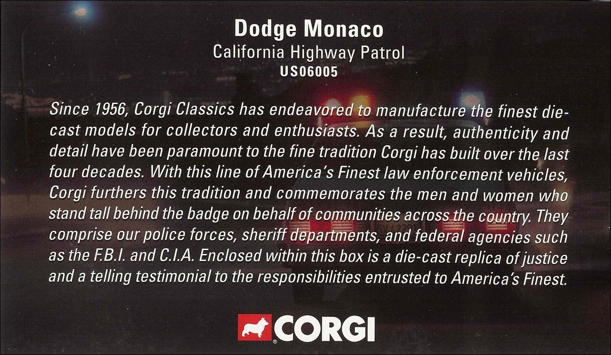 Corgi: Dodge Monaco California