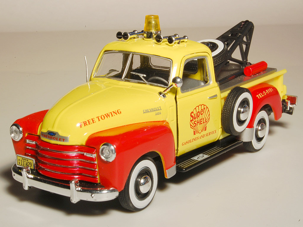 Cararama 1951 Chevrolet 3100 Towing Pickup Yellow Red In 143 Chevy Truck Scale
