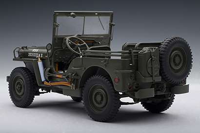 autoart jeep willys with accessories army green 74006 in 1 18 scale mdiecast. Black Bedroom Furniture Sets. Home Design Ideas