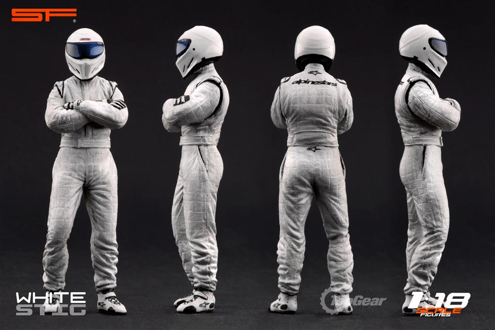 Scale Figures: Top Gear Stig Figure - White (SF118001) in 1:18 scale
